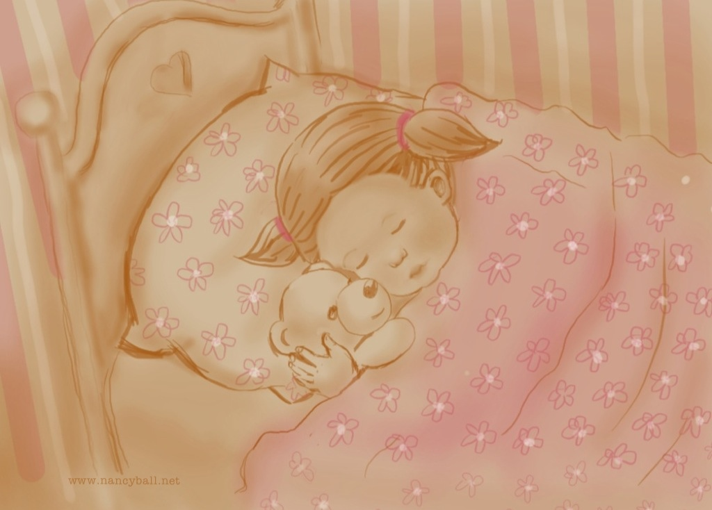 Little girl asleep with teddy illustration by Nancy Ball