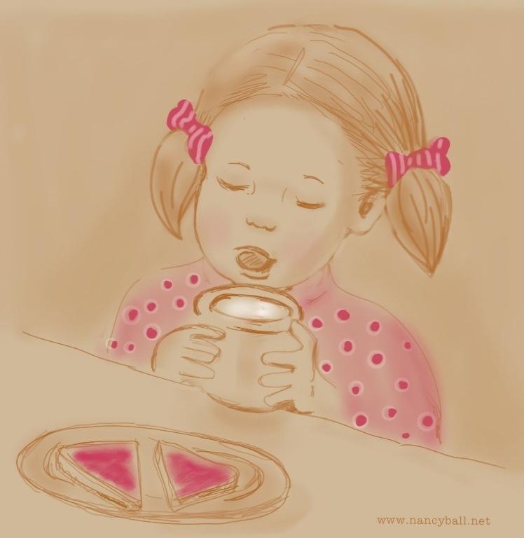 Little girl having supper illustration by Nancy Ball