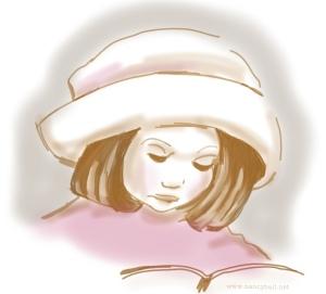 Little girl reading illustration by Nancy Ball