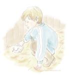 Little boy patting rabbit illustration by Nancy Ball
