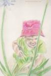 Little girl exploring the garden illustration by Nancy Ball