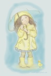 Little girl with umbrella illustration by Nancy Ball