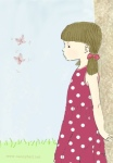 Little girl watching butterflies illustration by Nancy Ball