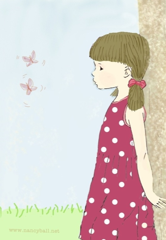 Little girl watching butterflies illustration by Nancy Ball