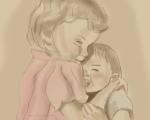 Girls hugging illustration by Nancy Ball