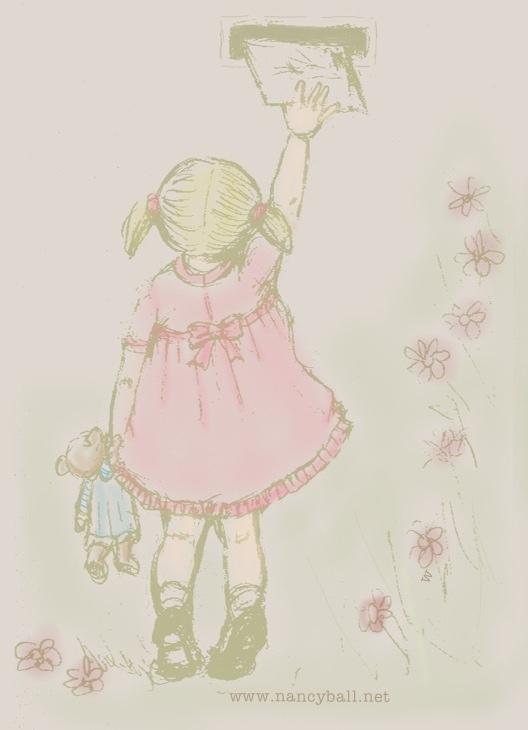 Little girl posting letter illustration by Nancy Ball