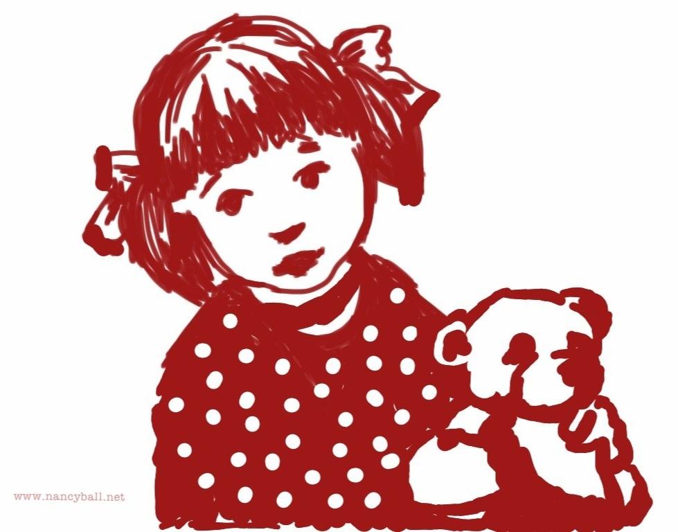 Girl Teddy Illustration by Nancy Ball