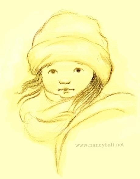 Little girl in winter gear illustration by Nancy Ball