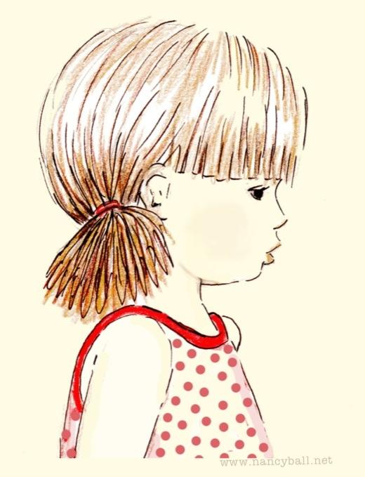 Little girl day dreaming illustration by Nancy Ball