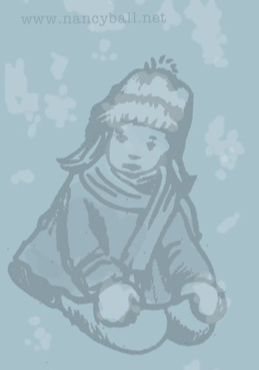 Little girl in the snow illustration by Nancy Ball