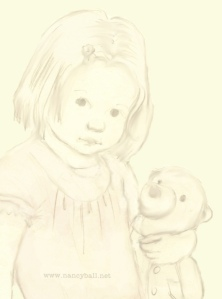 Little girl with teddy illustration by Nancy Ball