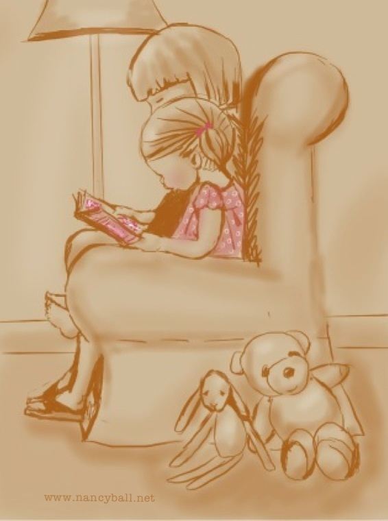 Little girl reading with her mother illustration by Nancy Ball