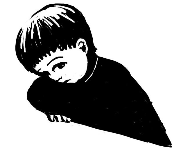 Sad little boy black and white illustration by Nancy Ball